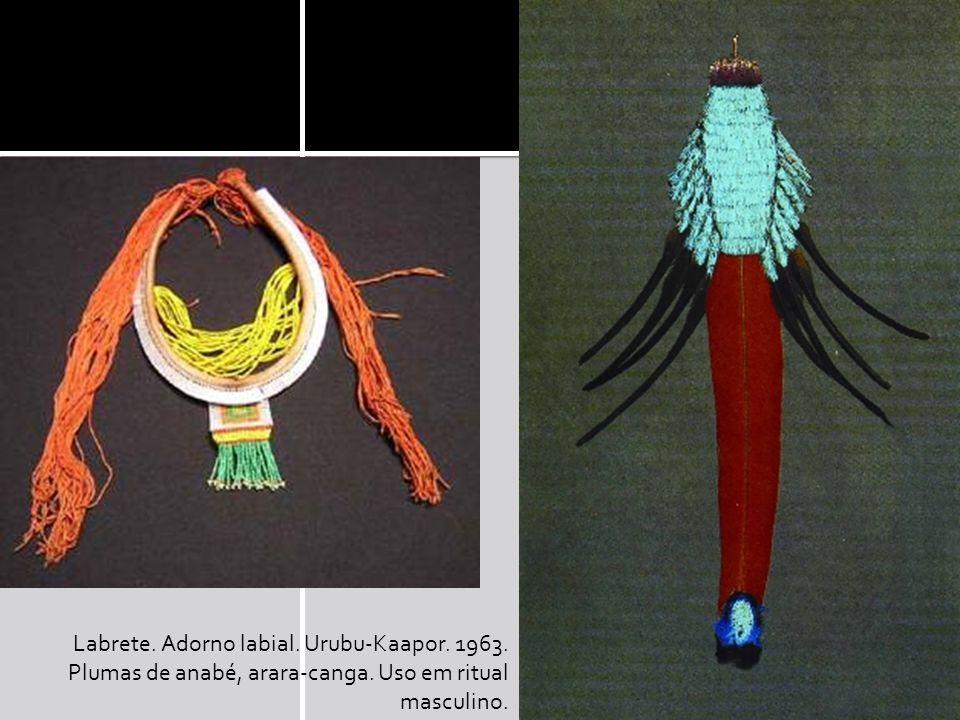 Labrete. Adorno labial. Urubu-Kaapor. 1963. Plumas de anabé, arara-canga. Uso em ritual masculino.