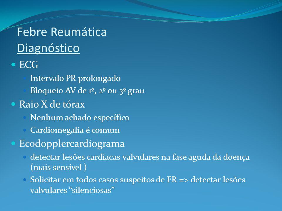 Febre Reumática Diagnóstico ECG Intervalo PR prolongado Bloqueio AV de 1º, 2º ou 3º grau Raio X de tórax Nenhum achado específico Cardiomegalia é comu