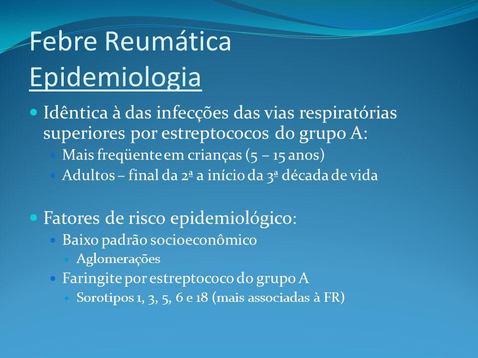 Febre Reumática Patogenia A FR está associada à infecção, pelo estreptococo β- hemolítico do grupo A, de vias aéreas superiores (não de pele).