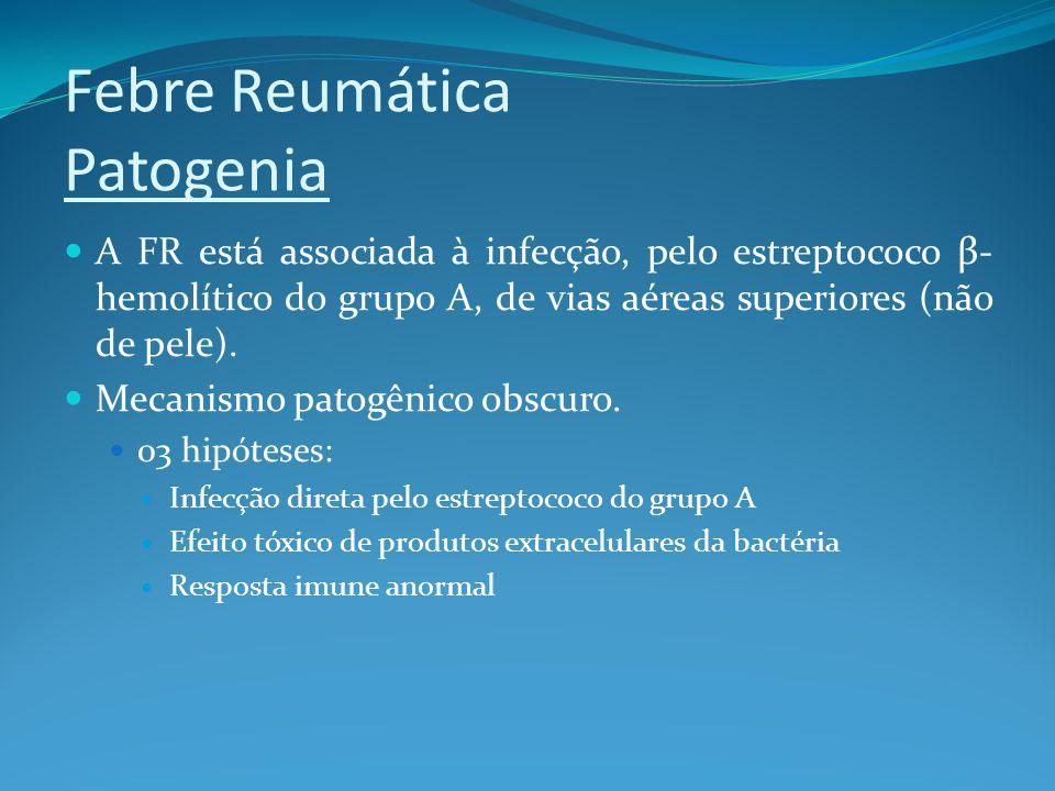 Febre Reumática Patogenia A FR está associada à infecção, pelo estreptococo β- hemolítico do grupo A, de vias aéreas superiores (não de pele). Mecanis