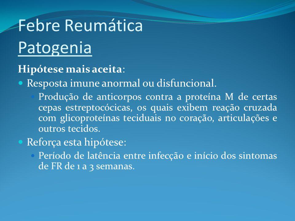 Febre Reumática Patogenia Hipótese mais aceita: Resposta imune anormal ou disfuncional. Produção de anticorpos contra a proteína M de certas cepas est