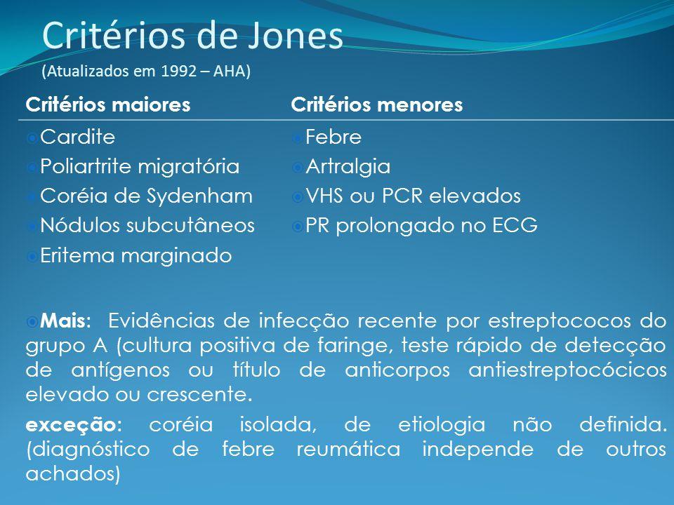 Critérios de Jones (Atualizados em 1992 – AHA) Critérios maioresCritérios menores Cardite Poliartrite migratória Coréia de Sydenham Nódulos subcutâneo