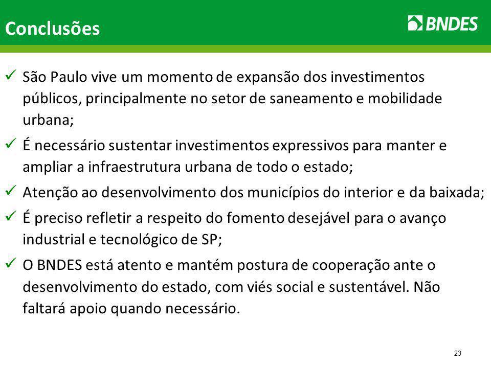 23 Conclusões São Paulo vive um momento de expansão dos investimentos públicos, principalmente no setor de saneamento e mobilidade urbana; É necessário sustentar investimentos expressivos para manter e ampliar a infraestrutura urbana de todo o estado; Atenção ao desenvolvimento dos municípios do interior e da baixada; É preciso refletir a respeito do fomento desejável para o avanço industrial e tecnológico de SP; O BNDES está atento e mantém postura de cooperação ante o desenvolvimento do estado, com viés social e sustentável.