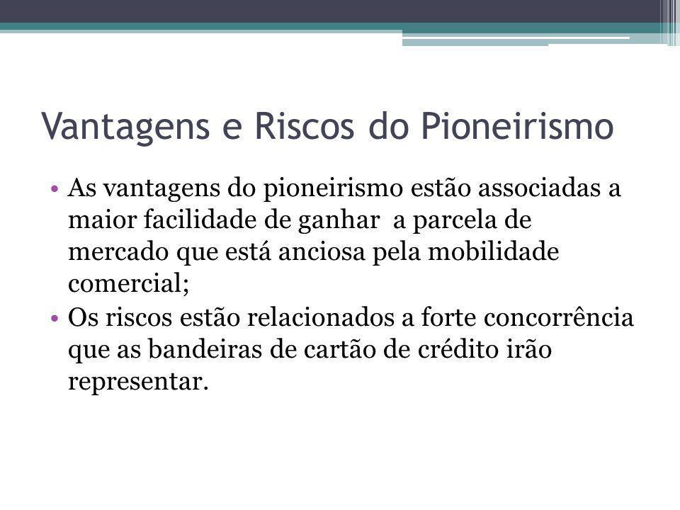 Vantagens e Riscos do Pioneirismo As vantagens do pioneirismo estão associadas a maior facilidade de ganhar a parcela de mercado que está anciosa pela
