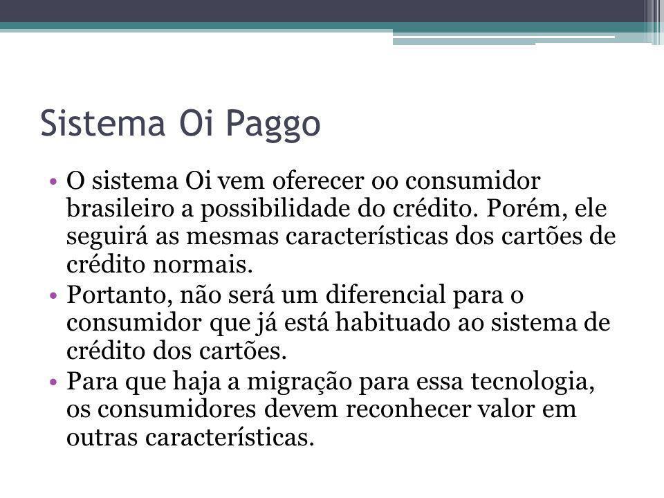 Sistema Oi Paggo O sistema Oi vem oferecer oo consumidor brasileiro a possibilidade do crédito. Porém, ele seguirá as mesmas características dos cartõ