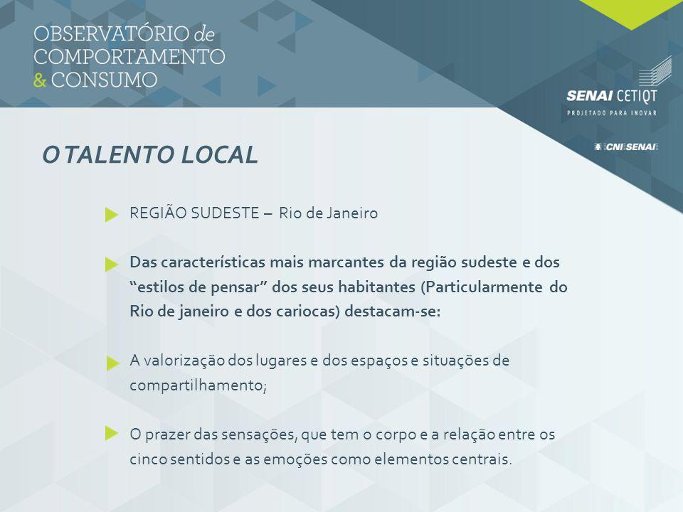 O TALENTO LOCAL REGIÃO SUDESTE – Rio de Janeiro Das características mais marcantes da região sudeste e dos estilos de pensar dos seus habitantes (Part