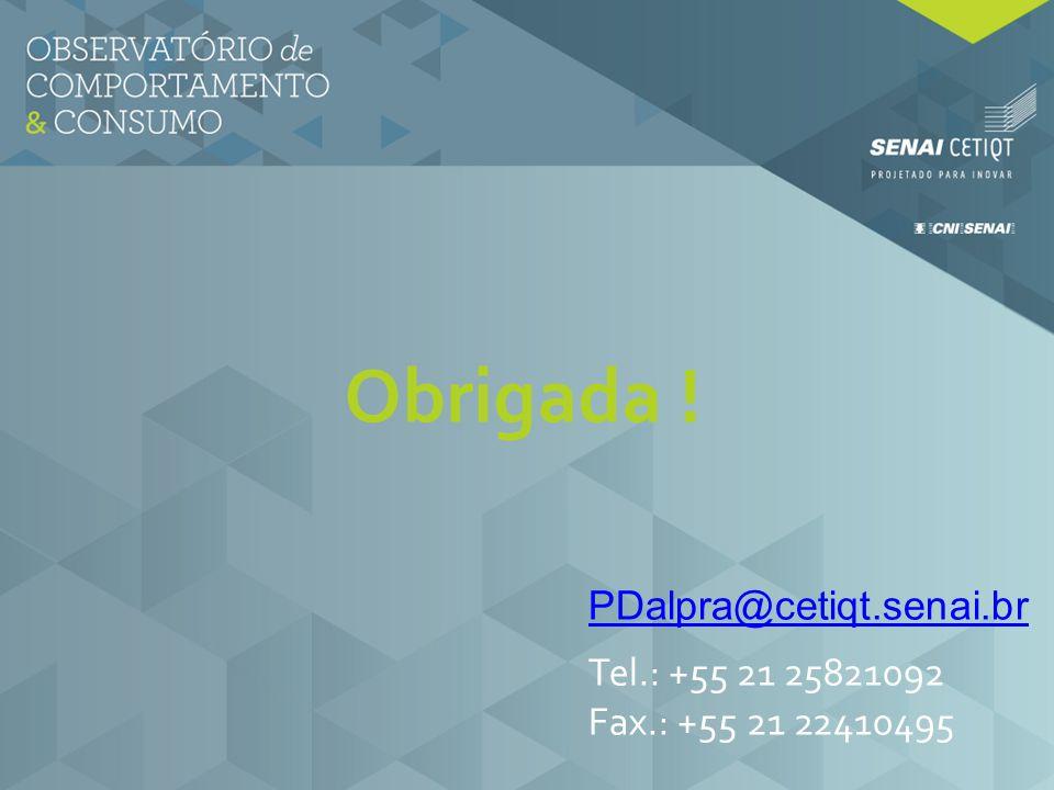 Obrigada ! PDalpra@cetiqt.senai.br Tel.: +55 21 25821092 Fax.: +55 21 22410495