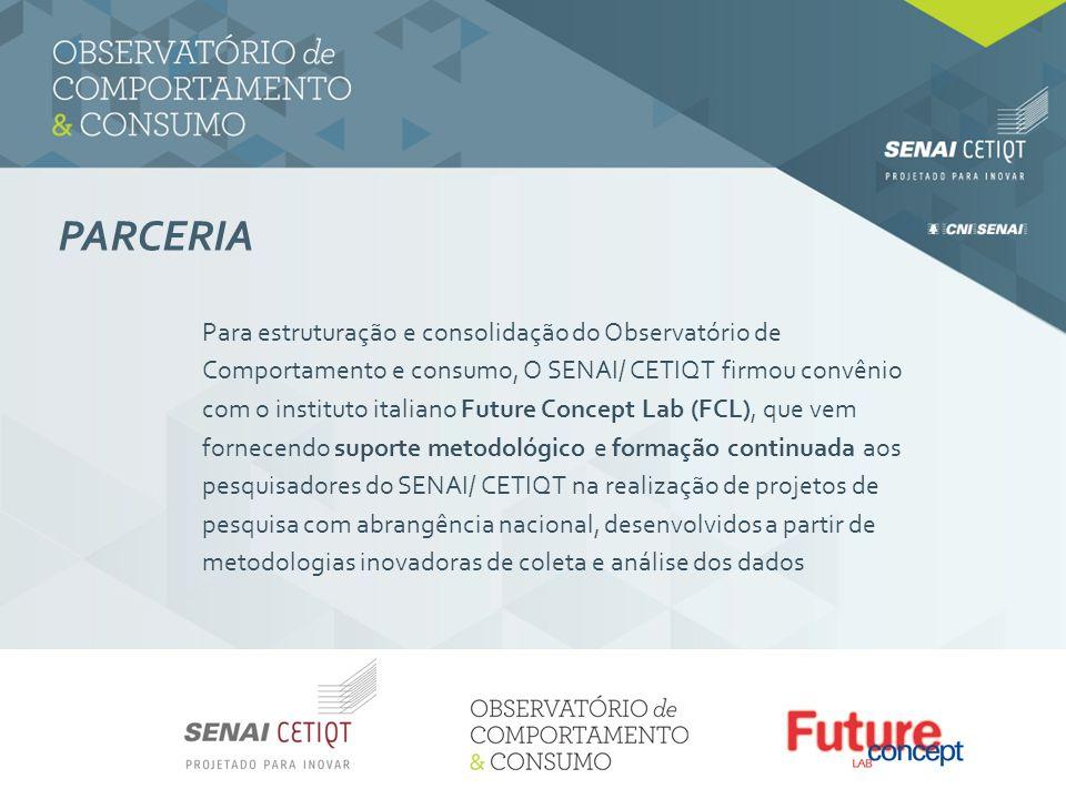 PARCERIA Para estruturação e consolidação do Observatório de Comportamento e consumo, O SENAI/ CETIQT firmou convênio com o instituto italiano Future