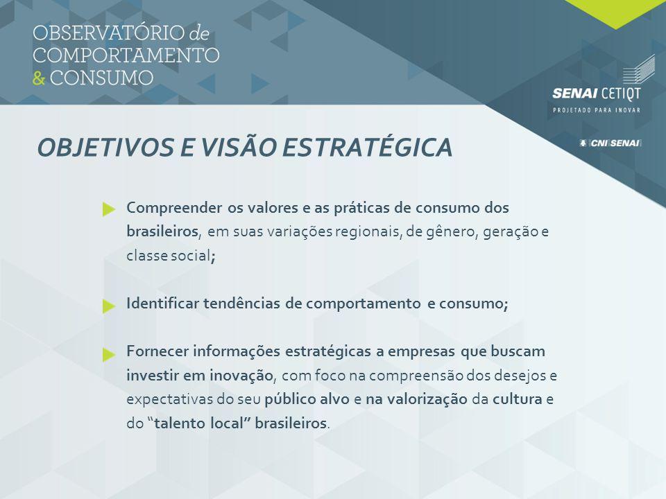 OBJETIVOS E VISÃO ESTRATÉGICA Compreender os valores e as práticas de consumo dos brasileiros, em suas variações regionais, de gênero, geração e class
