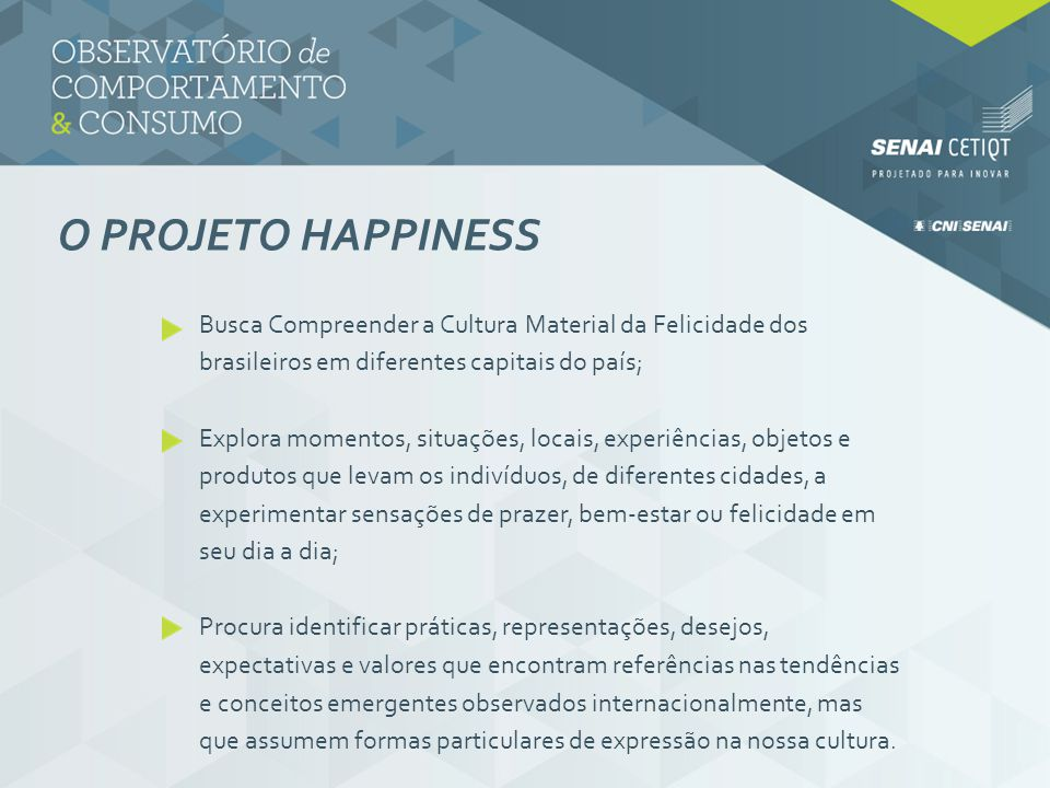 O PROJETO HAPPINESS Busca Compreender a Cultura Material da Felicidade dos brasileiros em diferentes capitais do país; Explora momentos, situações, lo