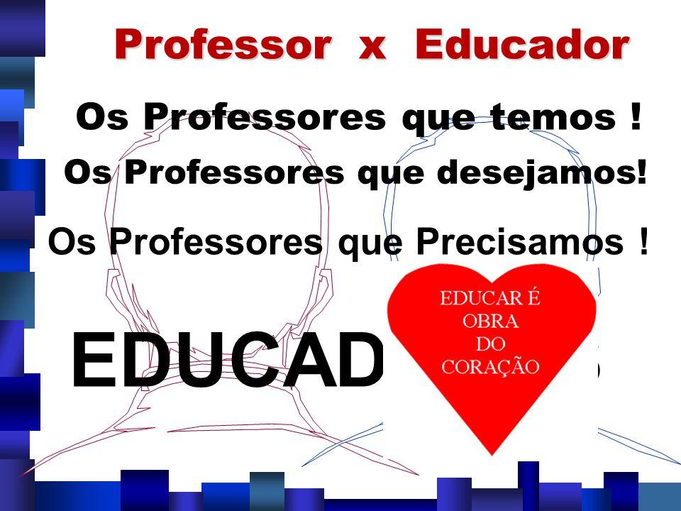Professor x Educador Os Professores que temos ! Os Professores que desejamos! Os Professores que Precisamos ! EDUCADORES