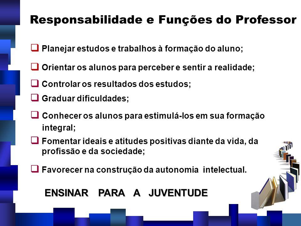 Responsabilidade e Funções do Professor Planejar estudos e trabalhos à formação do aluno; Orientar os alunos para perceber e sentir a realidade; Contr