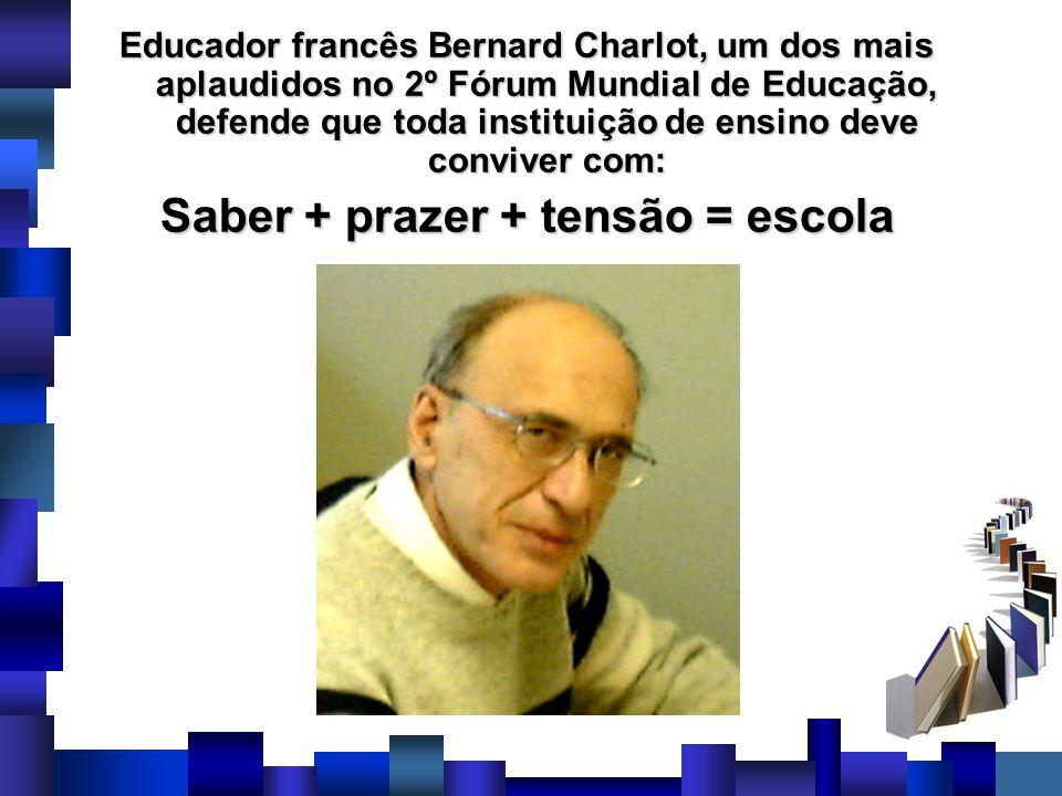 Educador francês Bernard Charlot, um dos mais aplaudidos no 2º Fórum Mundial de Educação, defende que toda instituição de ensino deve conviver com: Sa