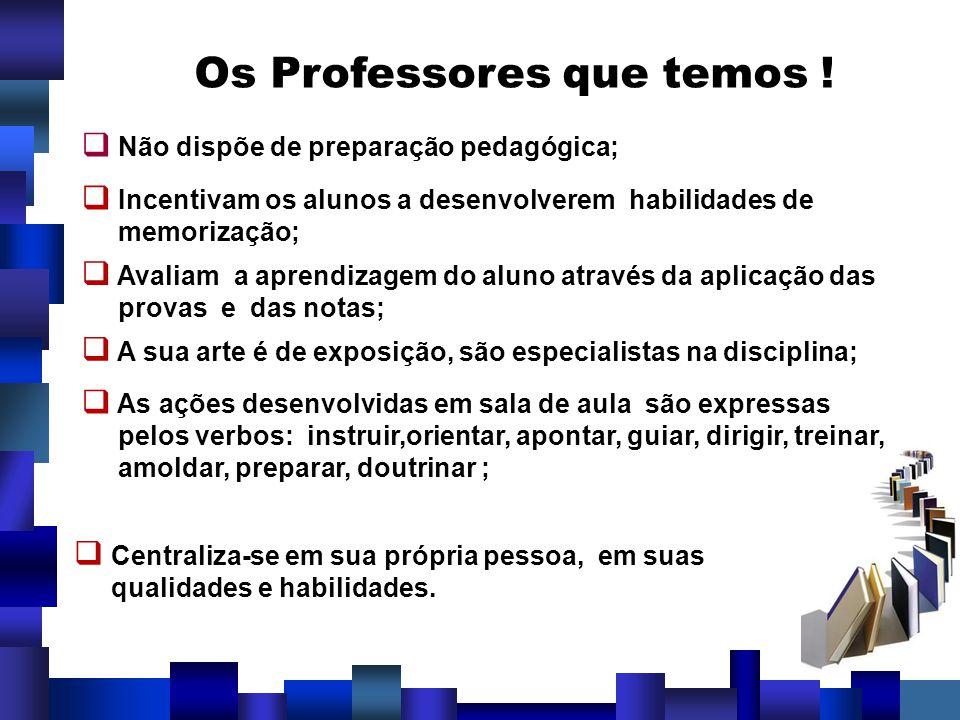 Os Professores que temos ! Não dispõe de preparação pedagógica; Incentivam os alunos a desenvolverem habilidades de memorização; Avaliam a aprendizage