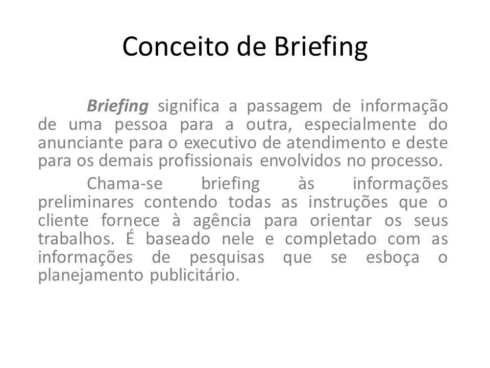 Conceito de Briefing Briefing significa a passagem de informação de uma pessoa para a outra, especialmente do anunciante para o executivo de atendimen