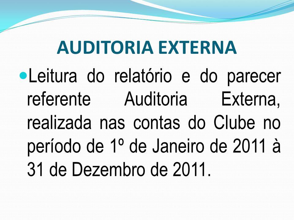 Leitura do relatório e do parecer referente Auditoria Externa, realizada nas contas do Clube no período de 1º de Janeiro de 2011 à 31 de Dezembro de 2