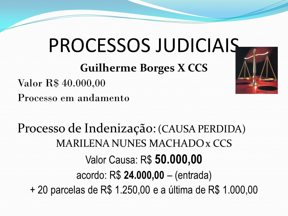 PROCESSOS JUDICIAIS Guilherme Borges X CCS Valor R$ 40.000,00 Processo em andamento Processo de Indenização: (CAUSA PERDIDA) MARILENA NUNES MACHADO x CCS Valor Causa: R$ 50.000,00 acordo: R$ 24.000,00 – (entrada) + 20 parcelas de R$ 1.250,00 e a última de R$ 1.000,00