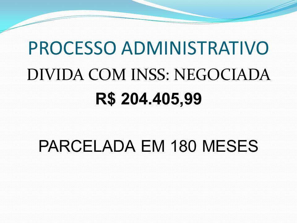 PROCESSO ADMINISTRATIVO DIVIDA COM INSS: NEGOCIADA R$ 204.405,99 PARCELADA EM 180 MESES
