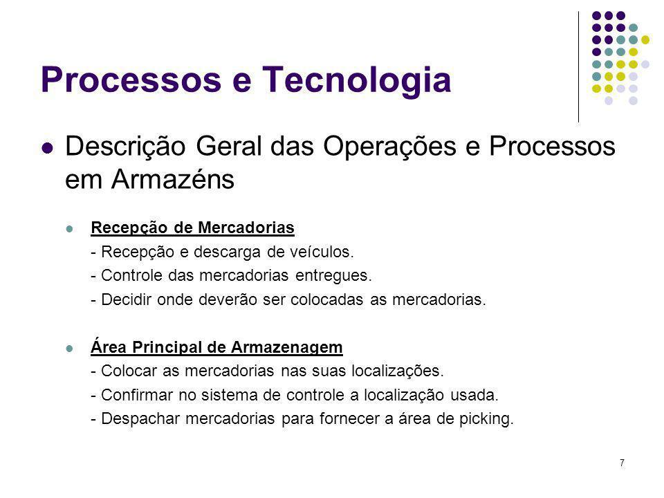 8 Processos e Tecnologia Descrição Geral das Operações em Armazéns Picking/Preparação de Encomendas - Recolher/seleccionar os artigos do stock para satisfação de encomendas (picking).
