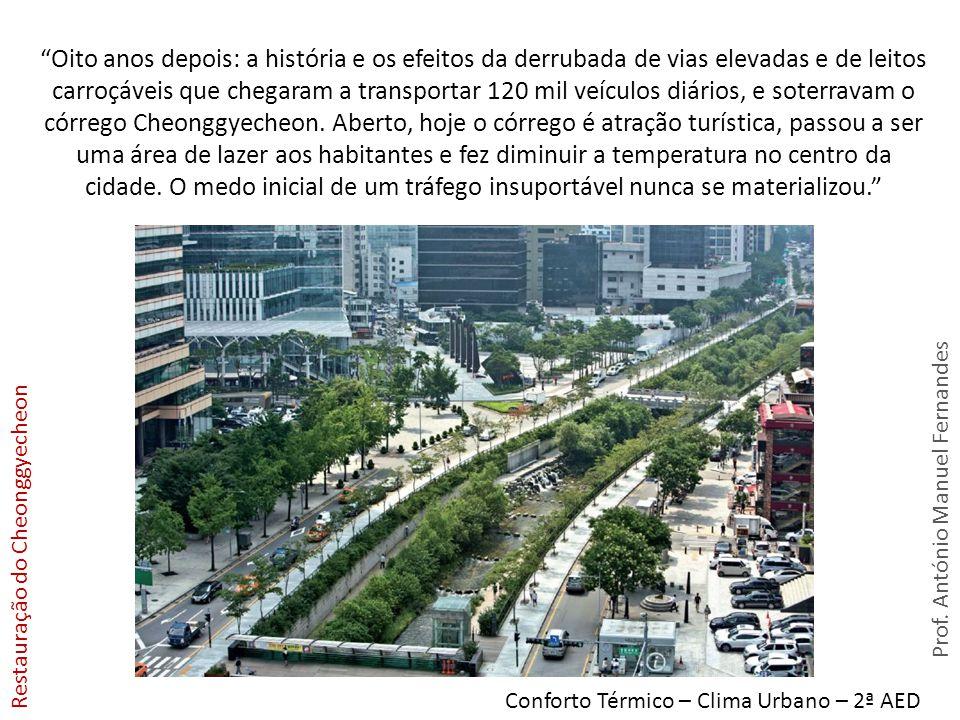 Prof. António Manuel Fernandes Conforto Térmico – Clima Urbano – 2ª AED Oito anos depois: a história e os efeitos da derrubada de vias elevadas e de l