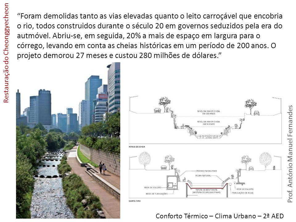 Prof. António Manuel Fernandes Conforto Térmico – Clima Urbano – 2ª AED Restauração do Cheonggyecheon Foram demolidas tanto as vias elevadas quanto o
