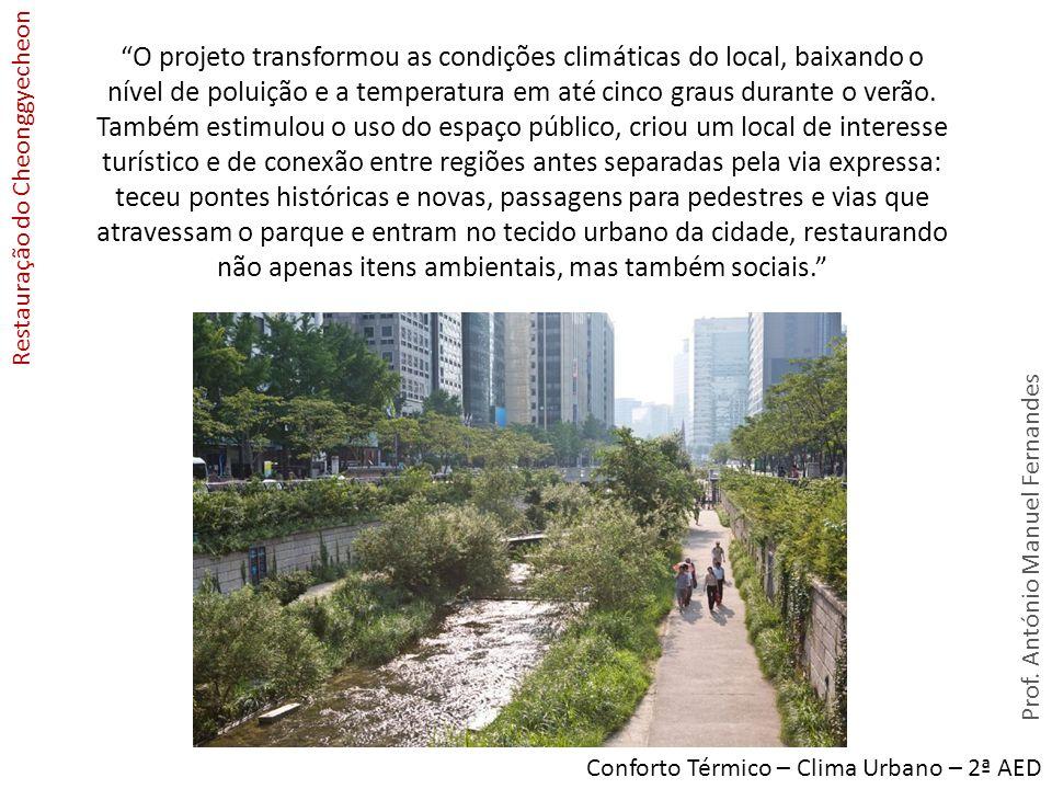 Prof. António Manuel Fernandes Conforto Térmico – Clima Urbano – 2ª AED Restauração do Cheonggyecheon O projeto transformou as condições climáticas do