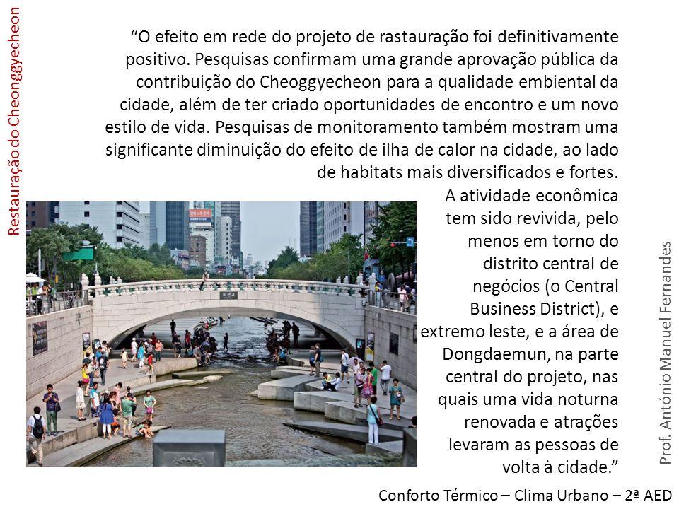 Prof. António Manuel Fernandes Conforto Térmico – Clima Urbano – 2ª AED O efeito em rede do projeto de rastauração foi definitivamente positivo. Pesqu