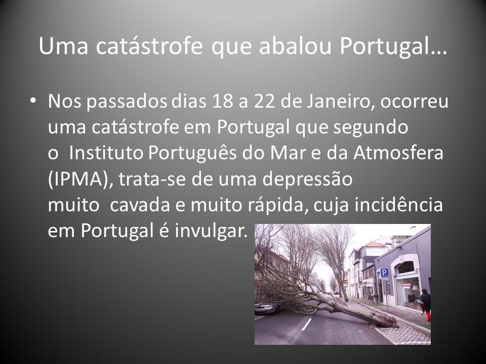 Uma catástrofe que abalou Portugal… Nos passados dias 18 a 22 de Janeiro, ocorreu uma catástrofe em Portugal que segundo o Instituto Português do Mar e da Atmosfera (IPMA), trata-se de uma depressão muito cavada e muito rápida, cuja incidência em Portugal é invulgar.