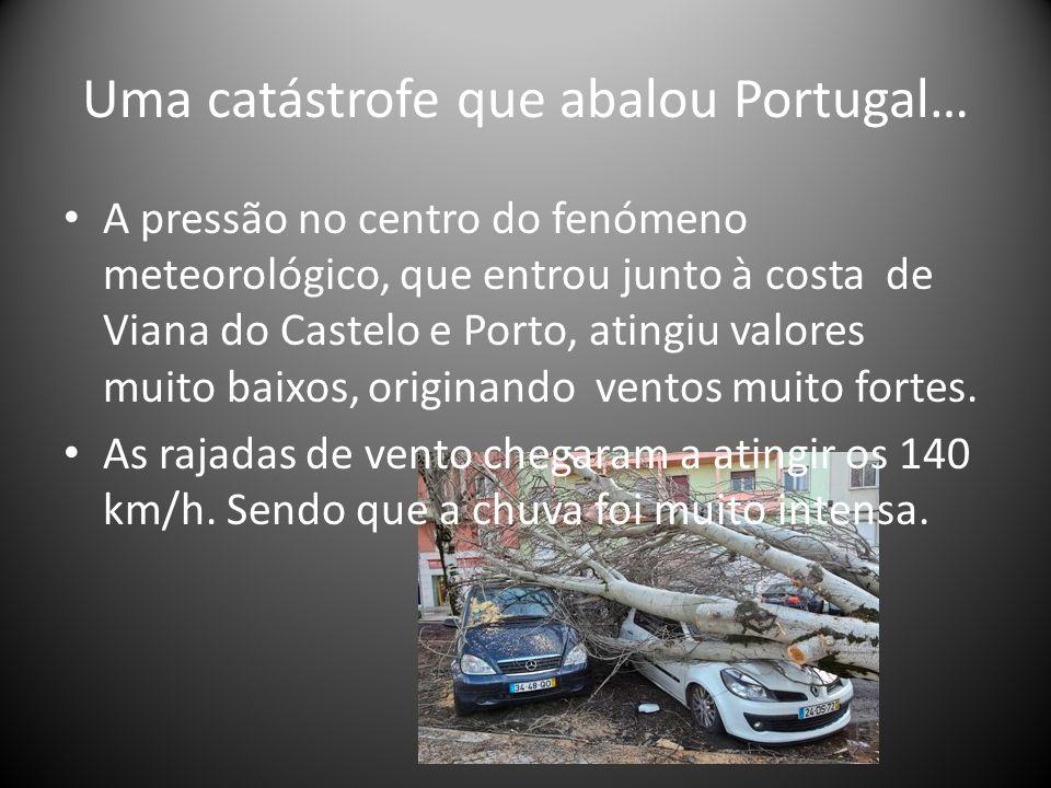 Uma catástrofe que abalou Portugal… A pressão no centro do fenómeno meteorológico, que entrou junto à costa de Viana do Castelo e Porto, atingiu valores muito baixos, originando ventos muito fortes.