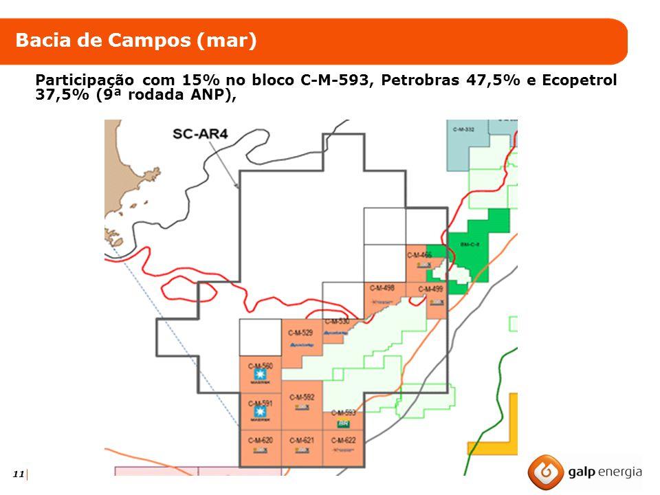 11 Bacia de Campos (mar) Participação com 15% no bloco C-M-593, Petrobras 47,5% e Ecopetrol 37,5% (9ª rodada ANP),
