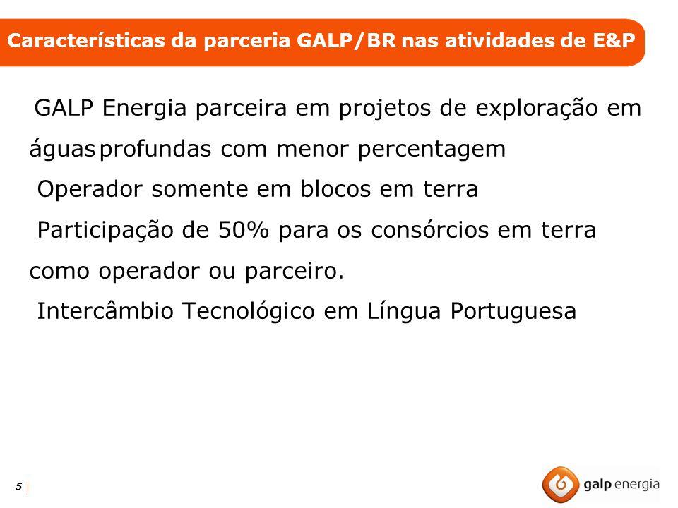 5 GALP Energia parceira em projetos de exploração em águasprofundas com menor percentagem Operador somente em blocos em terra Participação de 50% para