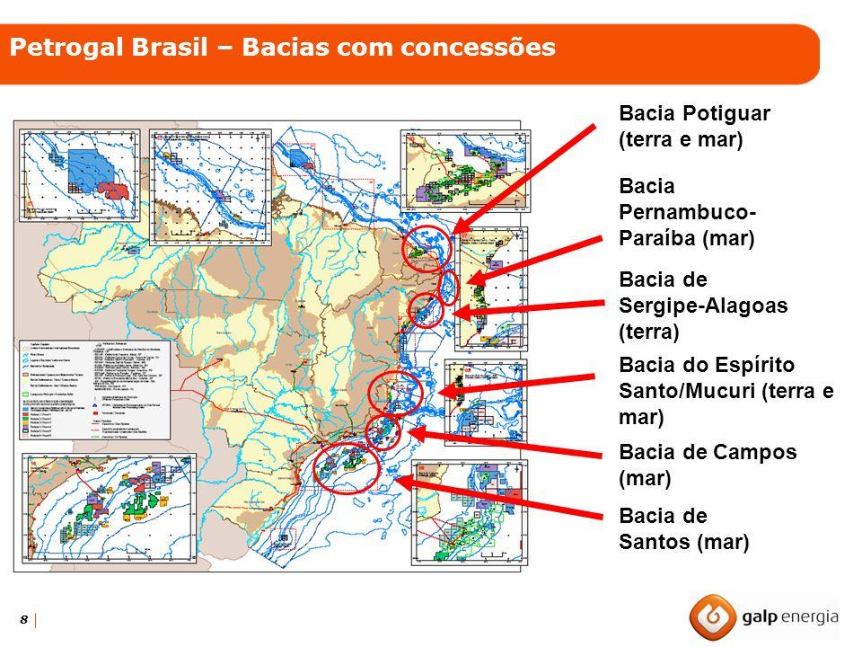 8 Petrogal Brasil – Bacias com concessões Bacia Potiguar (terra e mar) Bacia do Espírito Santo/Mucuri (terra e mar) Bacia de Santos (mar) Bacia de Ser