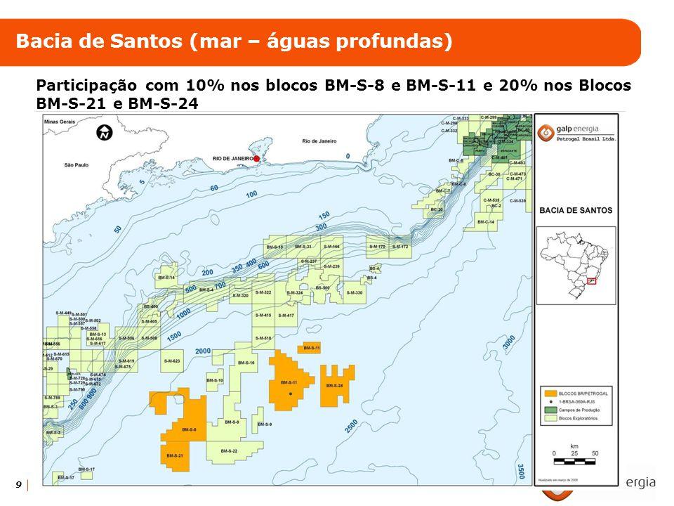 9 Bacia de Santos (mar – águas profundas) Participação com 10% nos blocos BM-S-8 e BM-S-11 e 20% nos Blocos BM-S-21 e BM-S-24