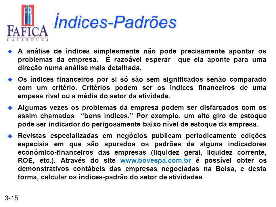 3-15 Índices-Padrões u A análise de índices simplesmente não pode precisamente apontar os problemas da empresa.