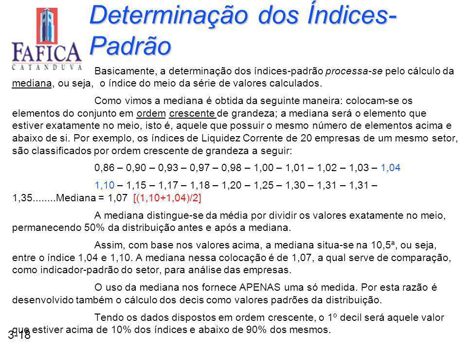 3-18 Determinação dos Índices- Padrão Basicamente, a determinação dos índices-padrão processa-se pelo cálculo da mediana, ou seja, o índice do meio da série de valores calculados.