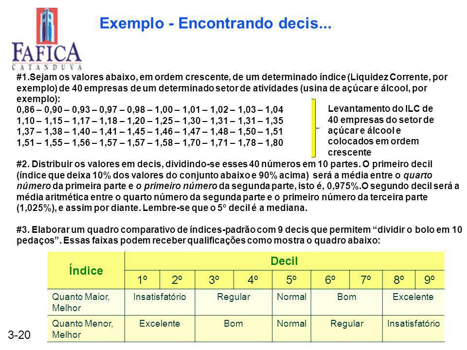 3-20 Exemplo - Encontrando decis... #1.Sejam os valores abaixo, em ordem crescente, de um determinado índice (Liquidez Corrente, por exemplo) de 40 em