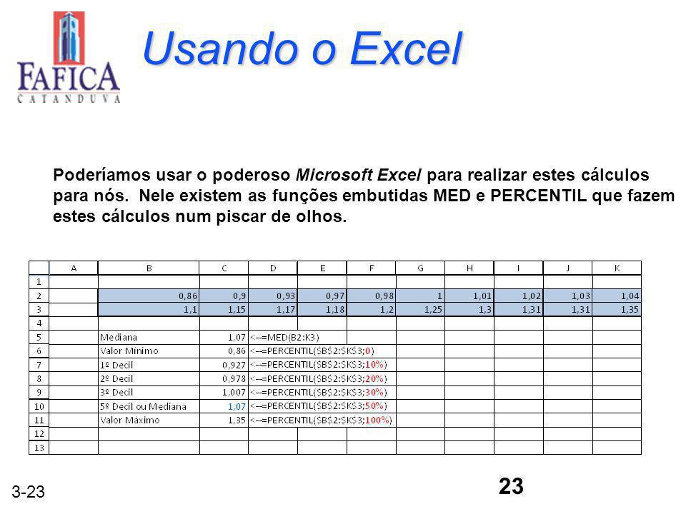 3-23 23 Poderíamos usar o poderoso Microsoft Excel para realizar estes cálculos para nós. Nele existem as funções embutidas MED e PERCENTIL que fazem
