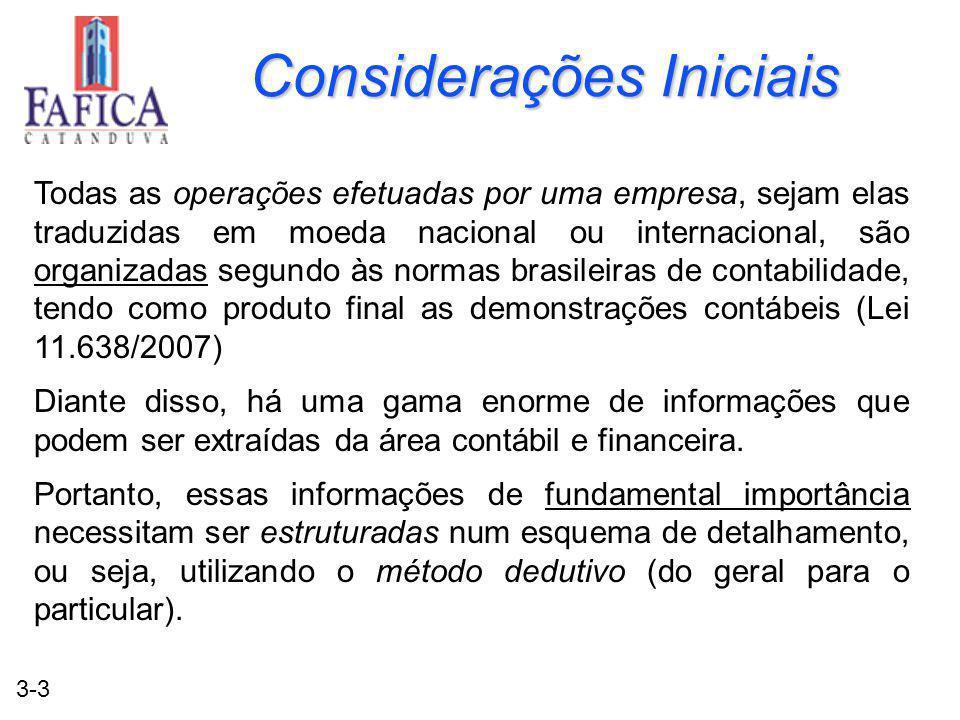 3-3 Considerações Iniciais Todas as operações efetuadas por uma empresa, sejam elas traduzidas em moeda nacional ou internacional, são organizadas seg