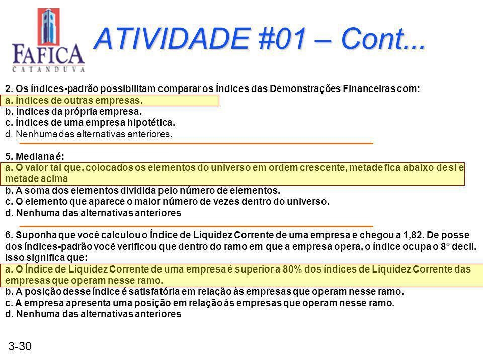 3-30 ATIVIDADE #01 – Cont... 2. Os índices-padrão possibilitam comparar os Índices das Demonstrações Financeiras com: a. Índices de outras empresas. b