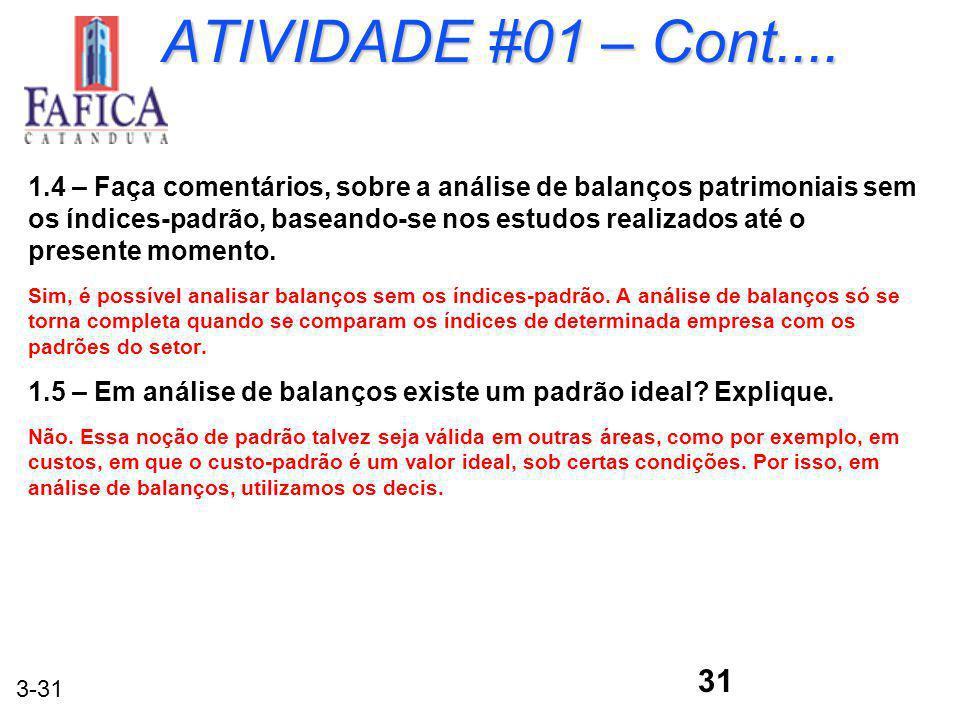 3-31 ATIVIDADE #01 – Cont.... 1.4 – Faça comentários, sobre a análise de balanços patrimoniais sem os índices-padrão, baseando-se nos estudos realizad