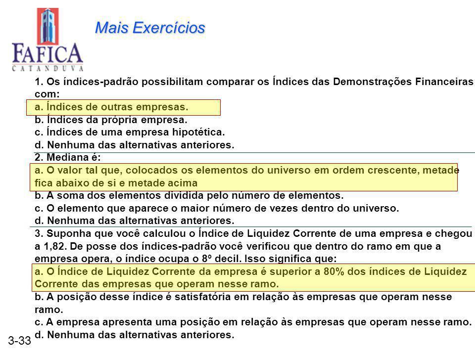 3-33 Mais Exercícios 1. Os índices-padrão possibilitam comparar os Índices das Demonstrações Financeiras com: a. Índices de outras empresas. b. Índice