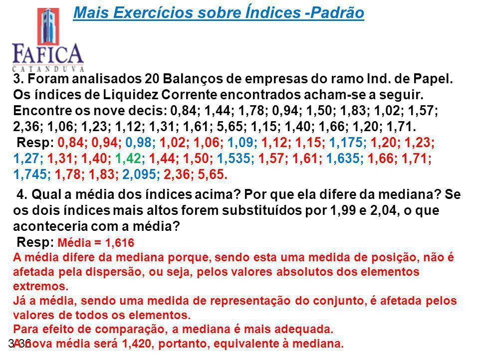 3-36 Mais Exercícios sobre Índices -Padrão 3.Foram analisados 20 Balanços de empresas do ramo Ind.