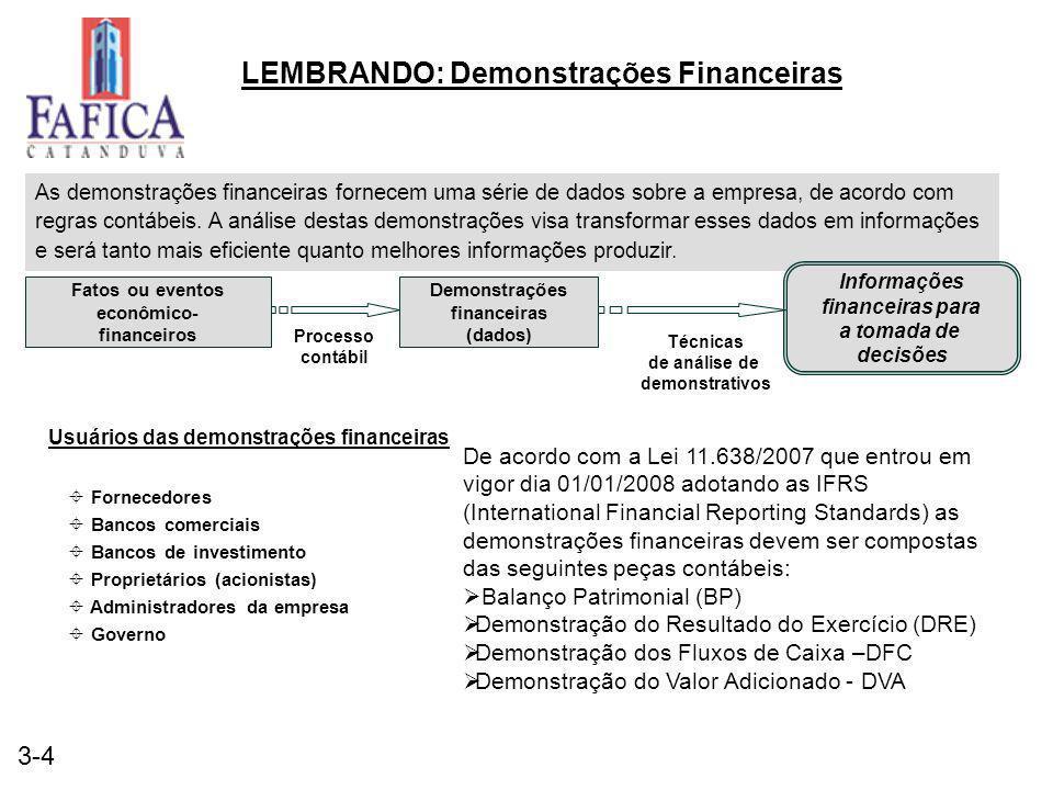 3-4 LEMBRANDO: Demonstrações Financeiras As demonstrações financeiras fornecem uma série de dados sobre a empresa, de acordo com regras contábeis. A a
