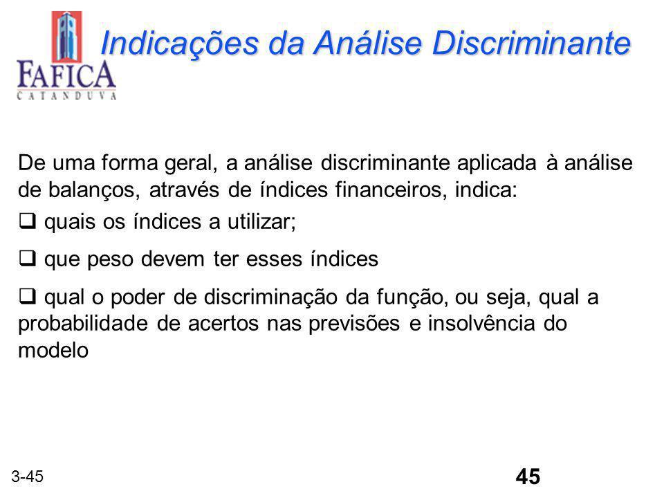 3-45 Indicações da Análise Discriminante De uma forma geral, a análise discriminante aplicada à análise de balanços, através de índices financeiros, i
