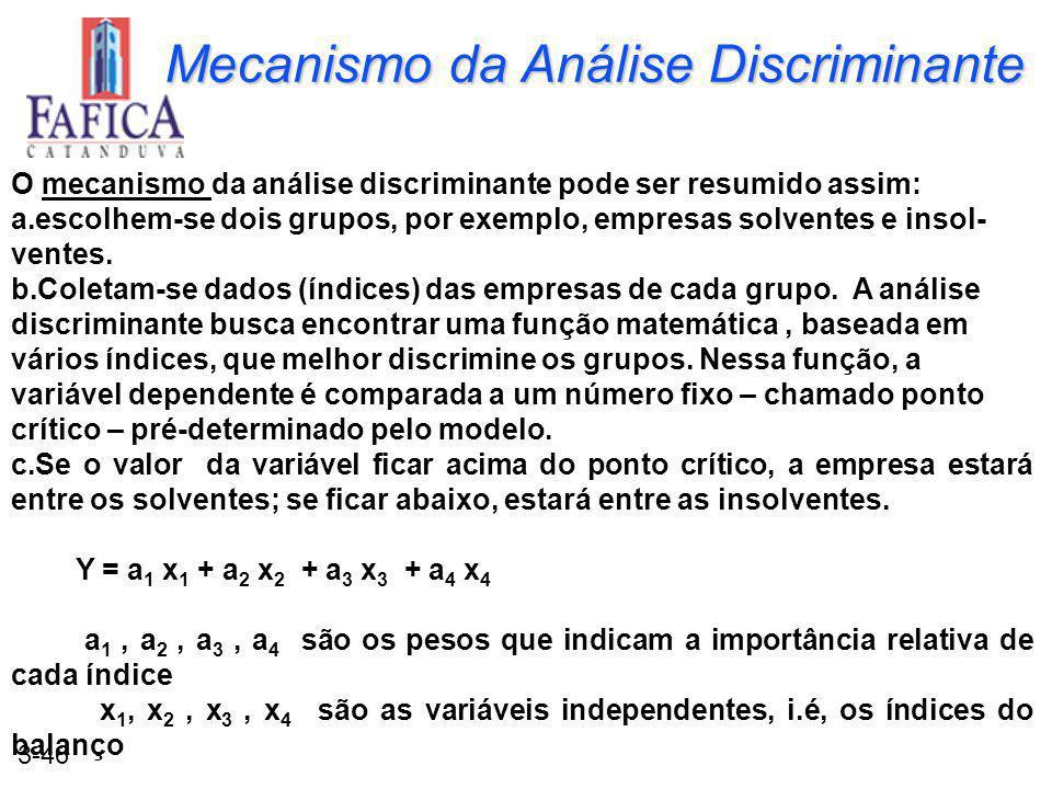 3-46 Mecanismo da Análise Discriminante O mecanismo da análise discriminante pode ser resumido assim: a.escolhem-se dois grupos, por exemplo, empresas solventes e insol- ventes.