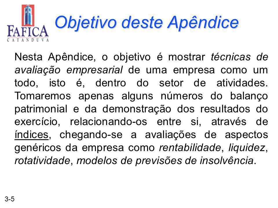 3-5 Objetivo deste Apêndice Nesta Apêndice, o objetivo é mostrar técnicas de avaliação empresarial de uma empresa como um todo, isto é, dentro do setor de atividades.
