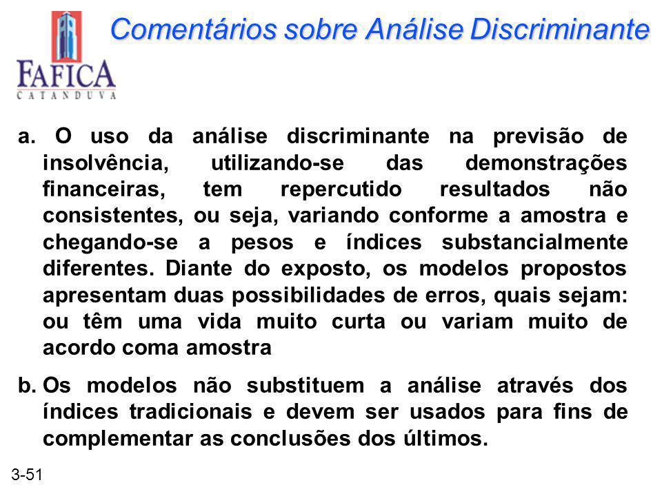3-51 Comentários sobre Análise Discriminante a. O uso da análise discriminante na previsão de insolvência, utilizando-se das demonstrações financeiras