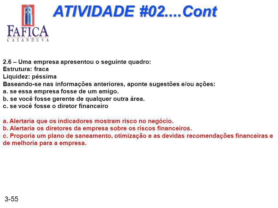 3-55 ATIVIDADE #02....Cont 2.6 – Uma empresa apresentou o seguinte quadro: Estrutura: fraca Liquidez: péssima Baseando-se nas informações anteriores, aponte sugestões e/ou ações: a.