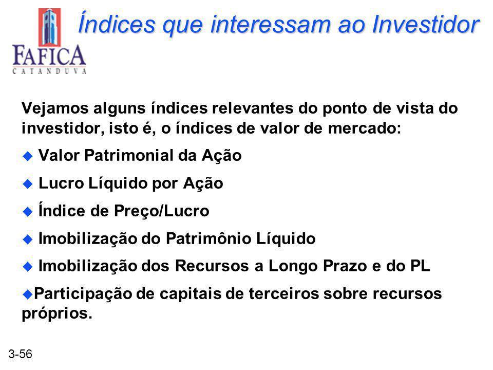 3-56 Índices que interessam ao Investidor Vejamos alguns índices relevantes do ponto de vista do investidor, isto é, o índices de valor de mercado: u