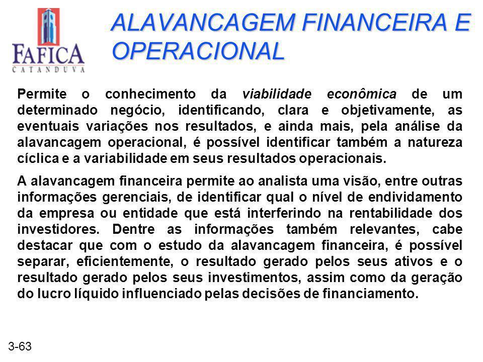 3-63 ALAVANCAGEM FINANCEIRA E OPERACIONAL Permite o conhecimento da viabilidade econômica de um determinado negócio, identificando, clara e objetivame